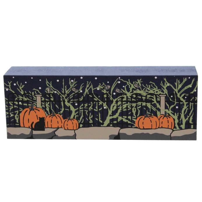 Cats Meow BRIAR FENCE Wood Halloween Pumpkins 14633