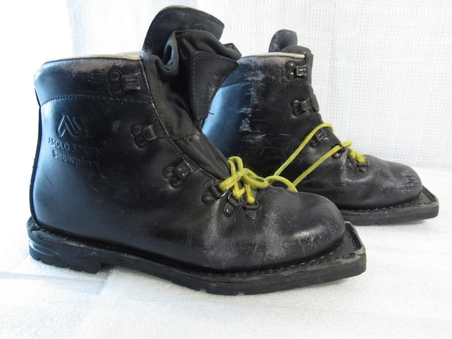 GENUINE LEATHER ASOLO SPORT SNOWPINE MEN 9.5 SKI BOOTS TELEMARK 5610 MADE ITALY