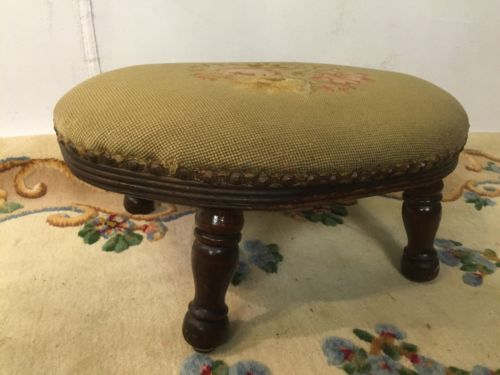 Foot Stool Antique Federal Style Embroyderd Cover C7Pics4Size/detail.MAKE OFFER