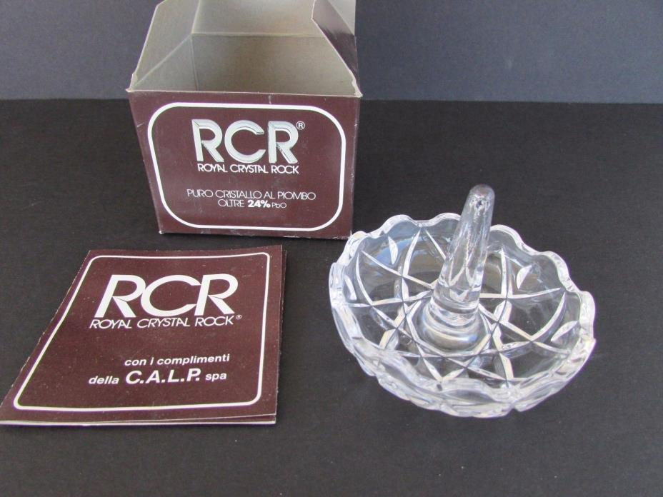 Vintage RCR Royal Crystal Rock 24% Ring Holder Lead Crystal Made in Italy w Box