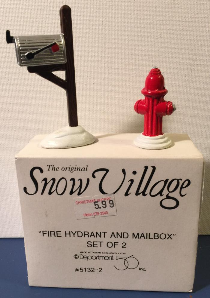 Department 56 Snow Village Fire Hydrant and Mail Box NIB