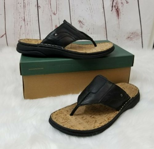 Clark Men's Sandals Size 10 M Black Leather Thong EUC