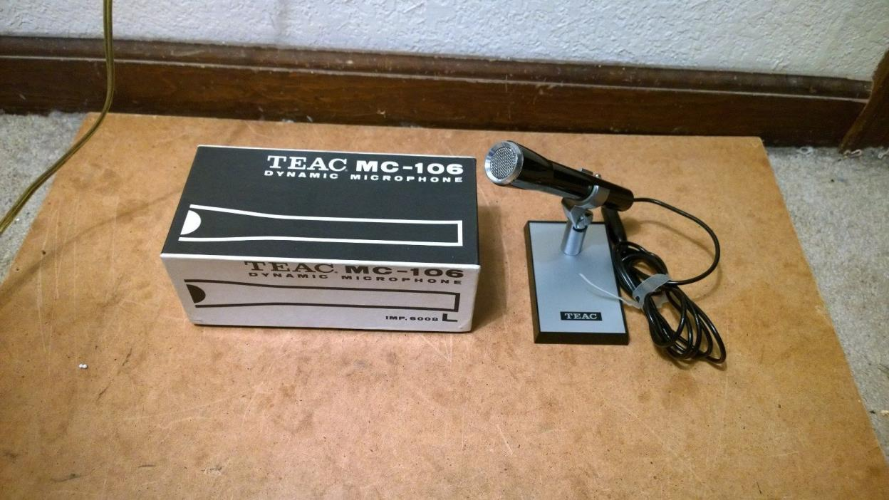Vintage Teac MC-106 Dynamic Microphone MIC With Original Box