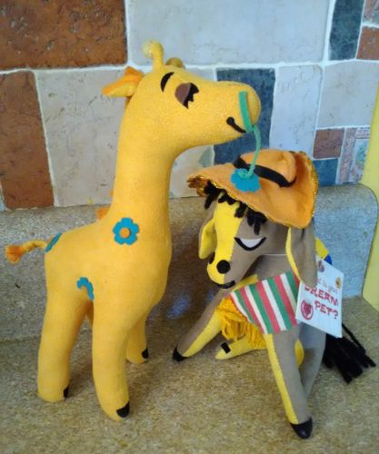 Dream Pets Donkey and Giraffe Dakin Velveteen Stuffed Plush Animal