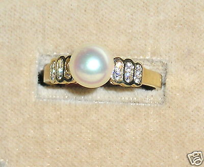 SOLID  14K Gold     Akoya  Cultured  Pearl       Ring