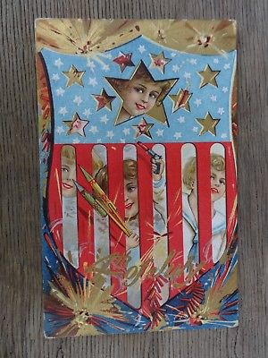 Postcard 4th of July Series No. 4 Embossed Children Stars & Flag Unused