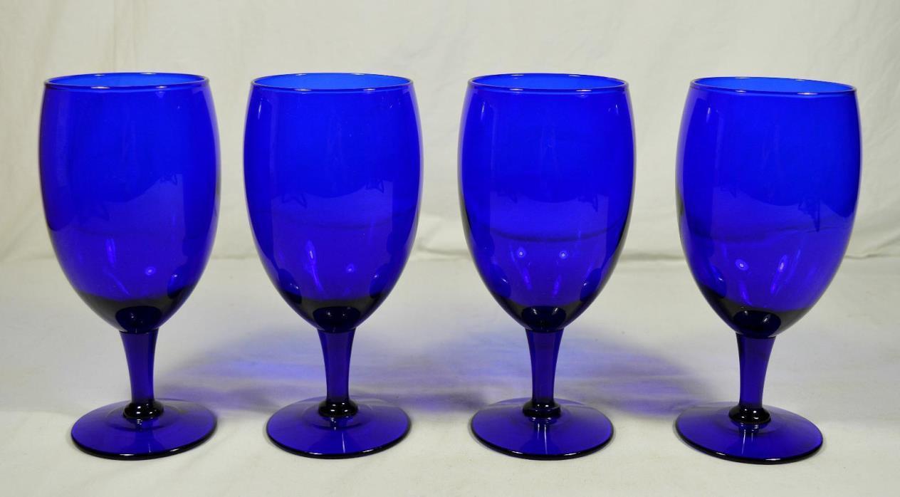 Set of 4 Cobalt Blue Glass Stemmed Water Goblets/Iced Tea Glasses