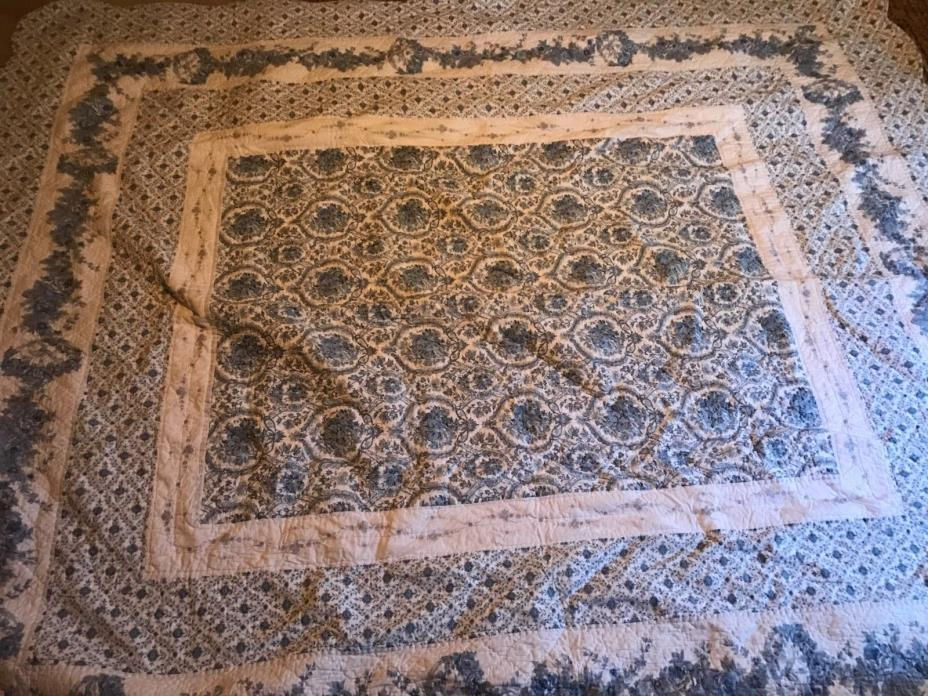 Old Quilt Blue & White Flowers Embroidery 96' x 84'