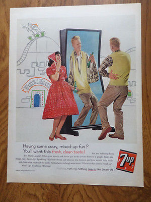 1960 7up Soda Bottle Ad Couple at the Fair Carnival Fun House