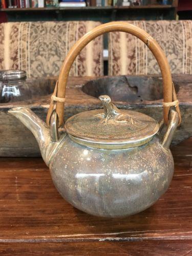 EI8HTEEN 18 Karat Asian FROG Nebula Taupe TEAPOT NEW Stunning Art Pottery Tea