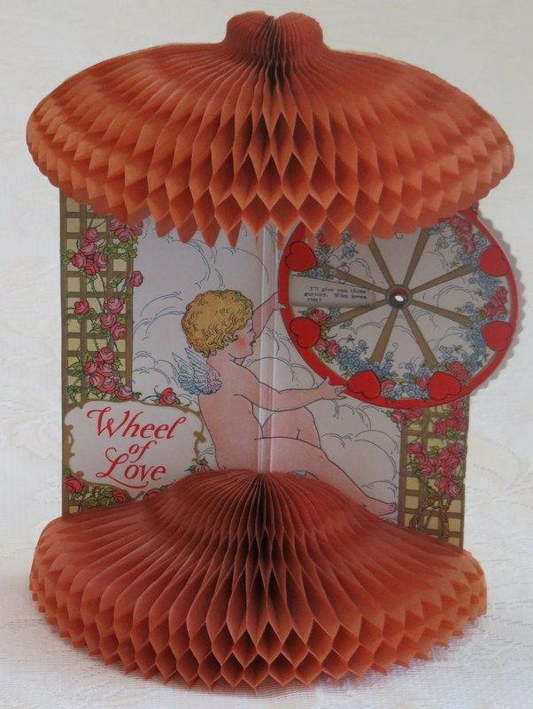 Mechanical Vintage Valentine, Wheel of Love, Honeycomb Paper Puff, Beistle