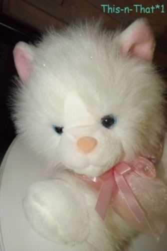 2001 Animal Alley Large Fuzzy White Kitten Cat with Pink Ribbon and Sparkles