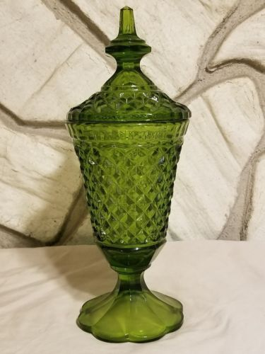 Mid Century Modern Lidded Candy Dish Olive Green Cut Glass Vintage Lid