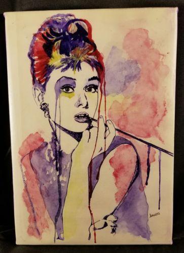 Audry Hepburn 8x12 FRAMED Canvas Print