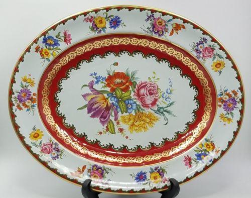 Vintage Daher England colorful metal tin pink purple floral platter tray 13.25