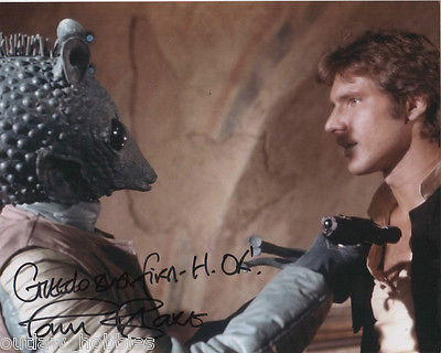 Star Wars Paul Blake Greedo Inscription Autographed Signed 8x10 Photo COA