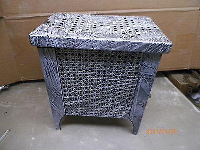 Old Gray White mottled  Porcelain Enamelware Gas Bathroom Heater  Stove