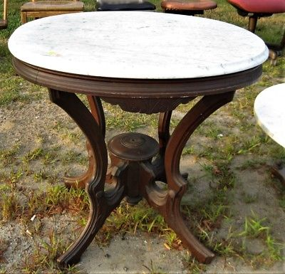 ANTIQUE VICTORIAN MARBLE TOP WALNUT OVAL LAMP TABLE-