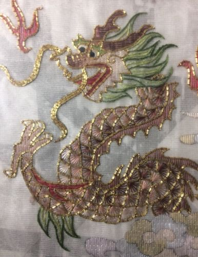 Fine Antique Chinese Embroidered Silk 1800s Dragon Gold Leaf Thread Custom Frame