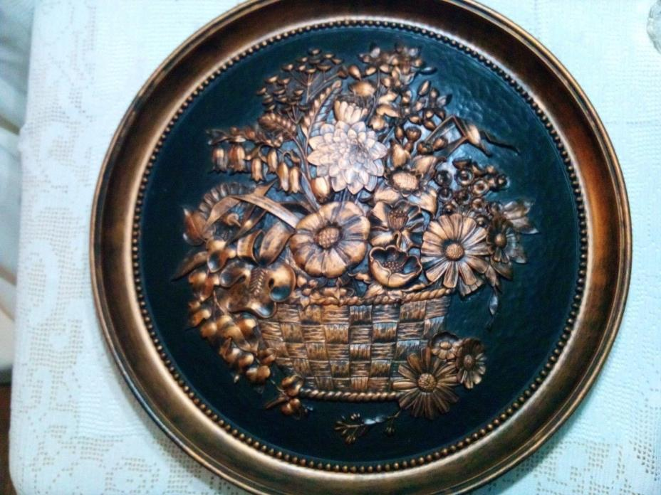 Vintage 3D Coppercraft Guild Large Copper Floral Basket Wall Hanging Plate - 20