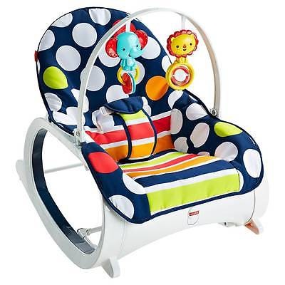 Fisher Price Newborn To Toddler Infant Child Chair Bouncer Rocker - Navy Dots