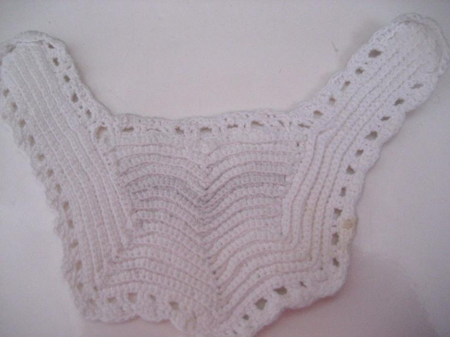 Vtg Antique White Baby Bib CROCHET COLLAR Yolk Inset 5X7