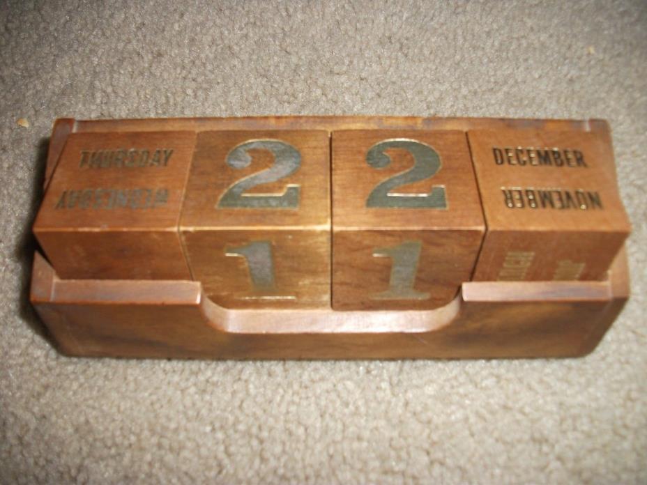 Vintage Wooden Date Calendar Blocks and Holder