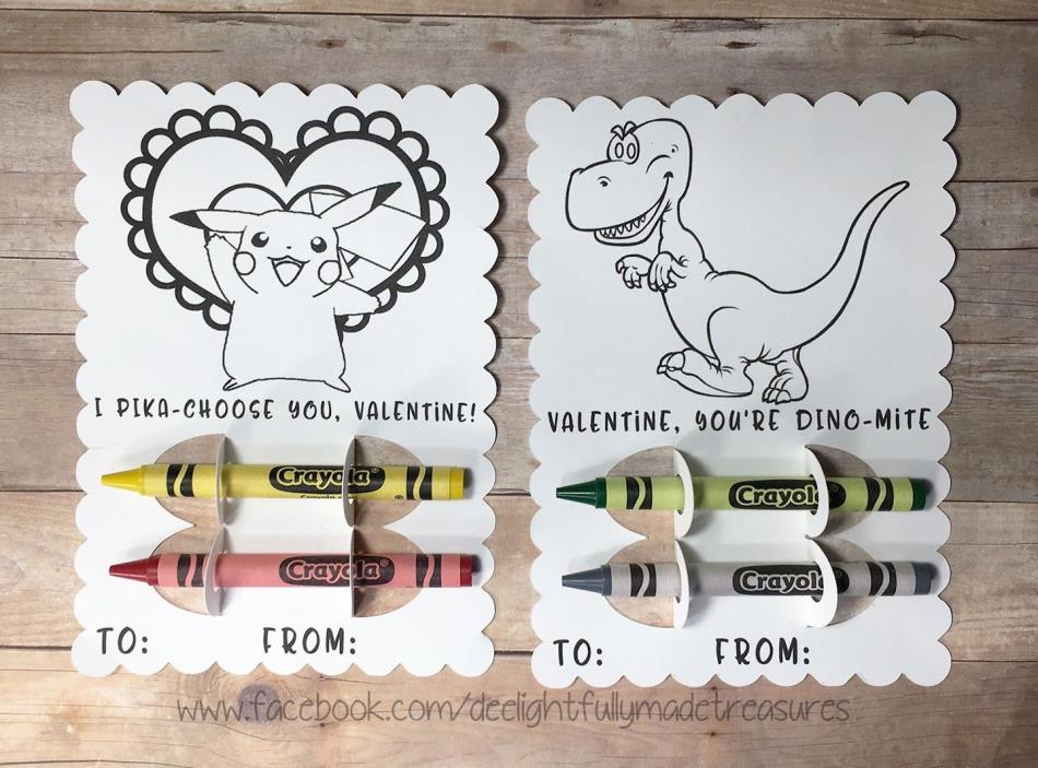 Handmade Valentine's Day Coloring Card Crayon Holder Boy Girl Custom Requests OK