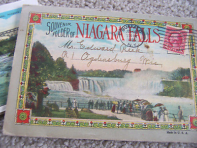 VTG POSTCARD NIAGRA FALLS SOUVENIR FOLDER 1925 POSTMARK many photos