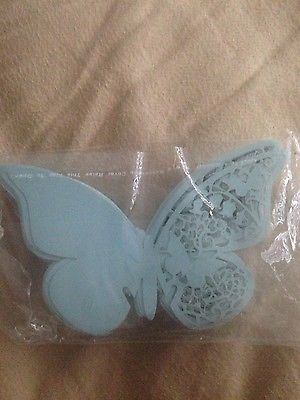 50 light blue wedding butterfly glass toppers