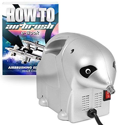 PointZero Portable Oil-less Airbrush Air Compressor Panda 1/8 HP Systems Sets