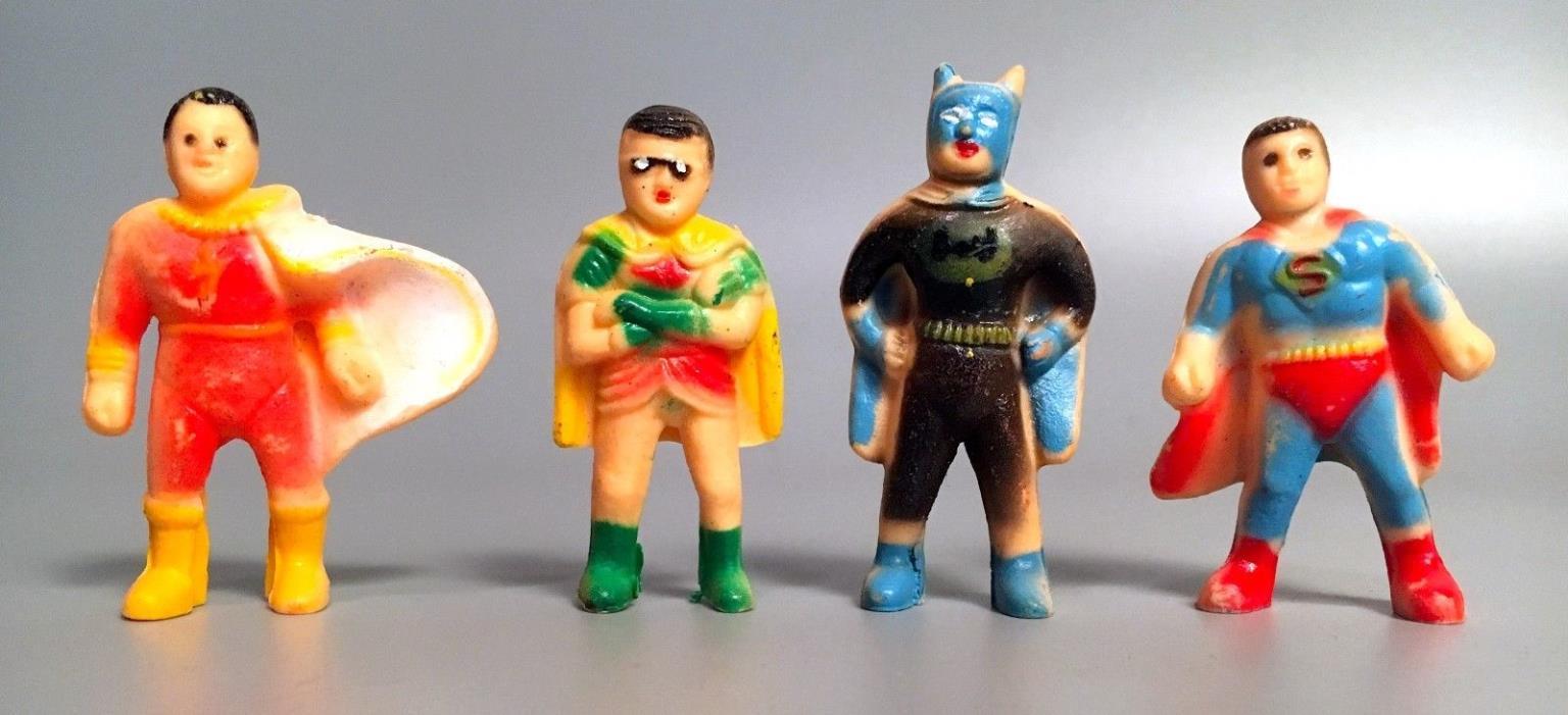 Vintage 1970s DC Comics BATMAN ROBIN SUPERMAN SHAZAM 4 Pencil Topper Figures