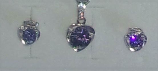 Women's  Necklace purple Crystal Heart Pendant Earrings