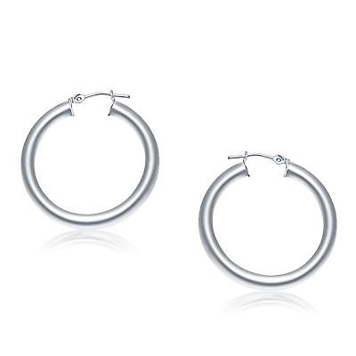 14K White Gold Polished Hoop Earrings (30 mm)