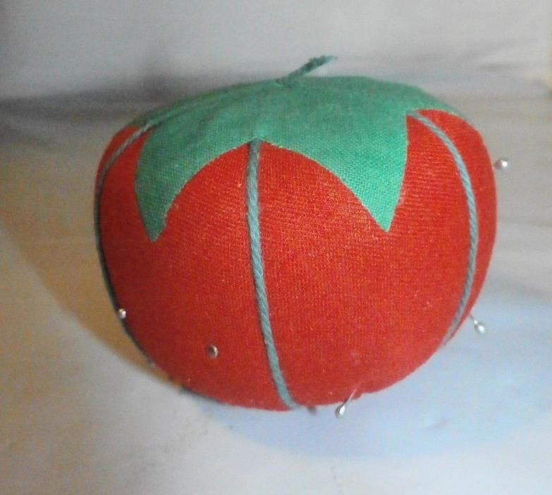 Old Vtg Tomato Strawberry Pin Cushion Sewing