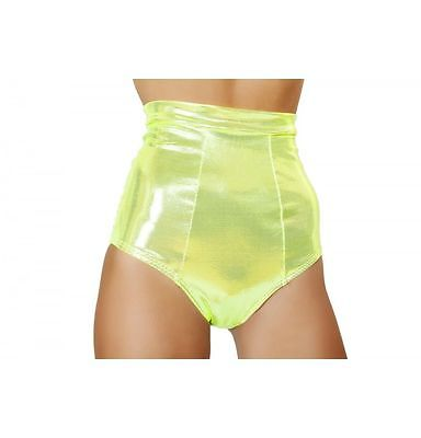 Roma Costume SH3124 Metallic Yellow High Waisted Banded Shorts Size: Small-Med.