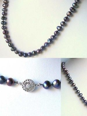 DRAMATIC! Rainbow Peacock Freshwater Pearl 925 Sterling Silver NECKLACE 20