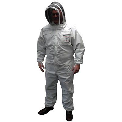 Mann Lake CV260 Waterproof Weathertek Bee Suit With Veil, White, Medium
