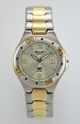 Relic Men's Stainless Steel Silver Gold Watch Case.  Parts, Repair Item Only