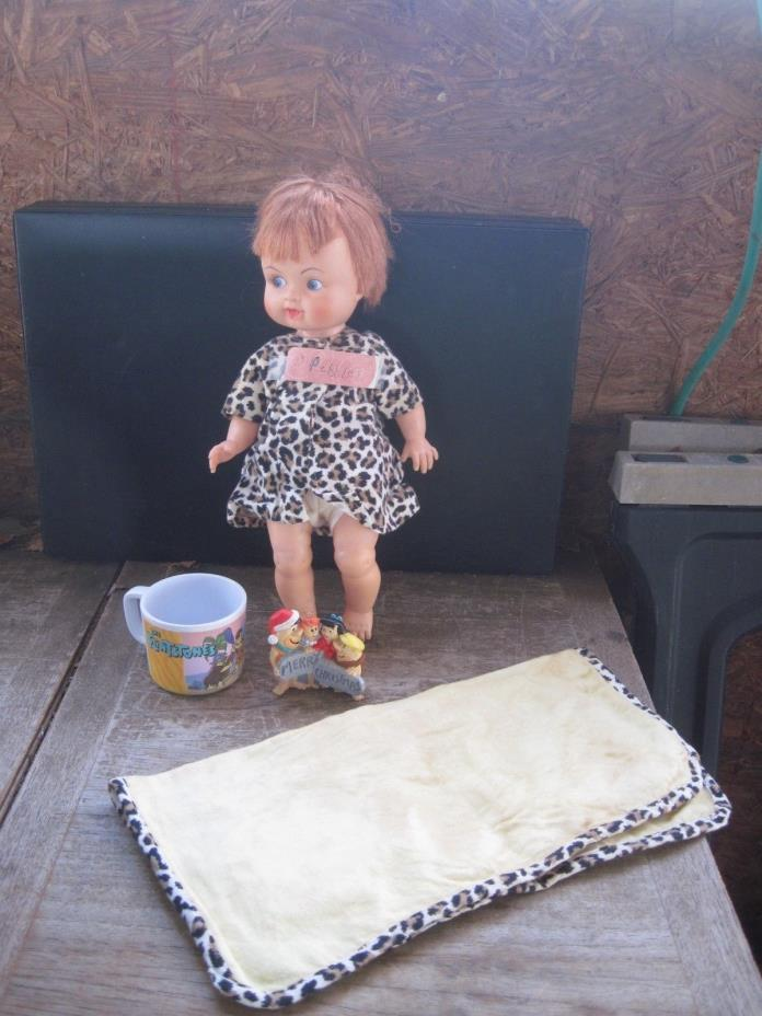 PEBBLES Baby Doll from the Flintstones with Blanket & Dress + Cup & Ornament