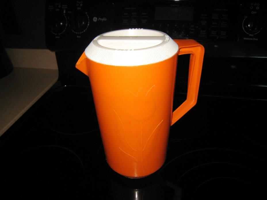 VINTAGE ORANGE JUICE PITCHER WITH FLOWERS~~