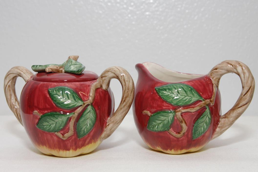 Vintage Fitz And Floyd Harvest Apple Red Sugar And Creamer