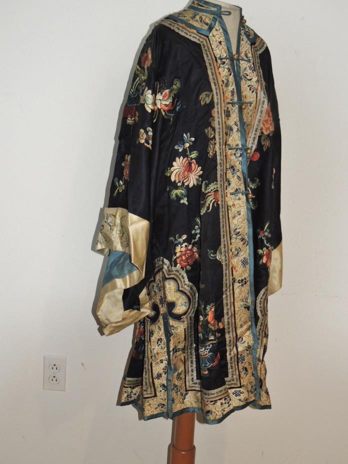 Antique Hand Embroidered Silk Chinese Robe w Peking Forbidden Stitch