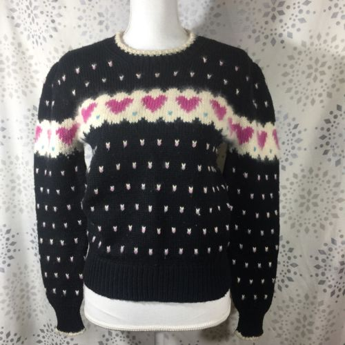 Marceau Womens Sweater Large Runs very small Black Hearts Vintage