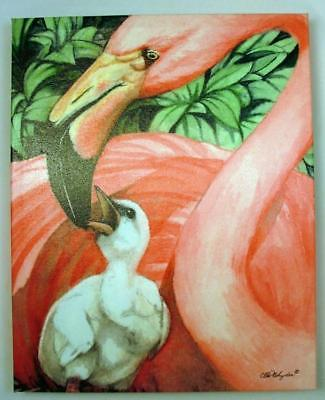Tropical Pink Flamingo Mother and Baby Chick Canvas Gallery Wrap 15x12 Inches