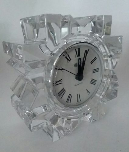 Mikasa Crystal Glass StarFire Quartz Vintage Clock - Pre-Owned