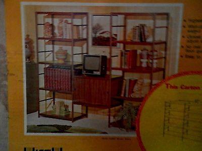 set of walnut color steel shelves
