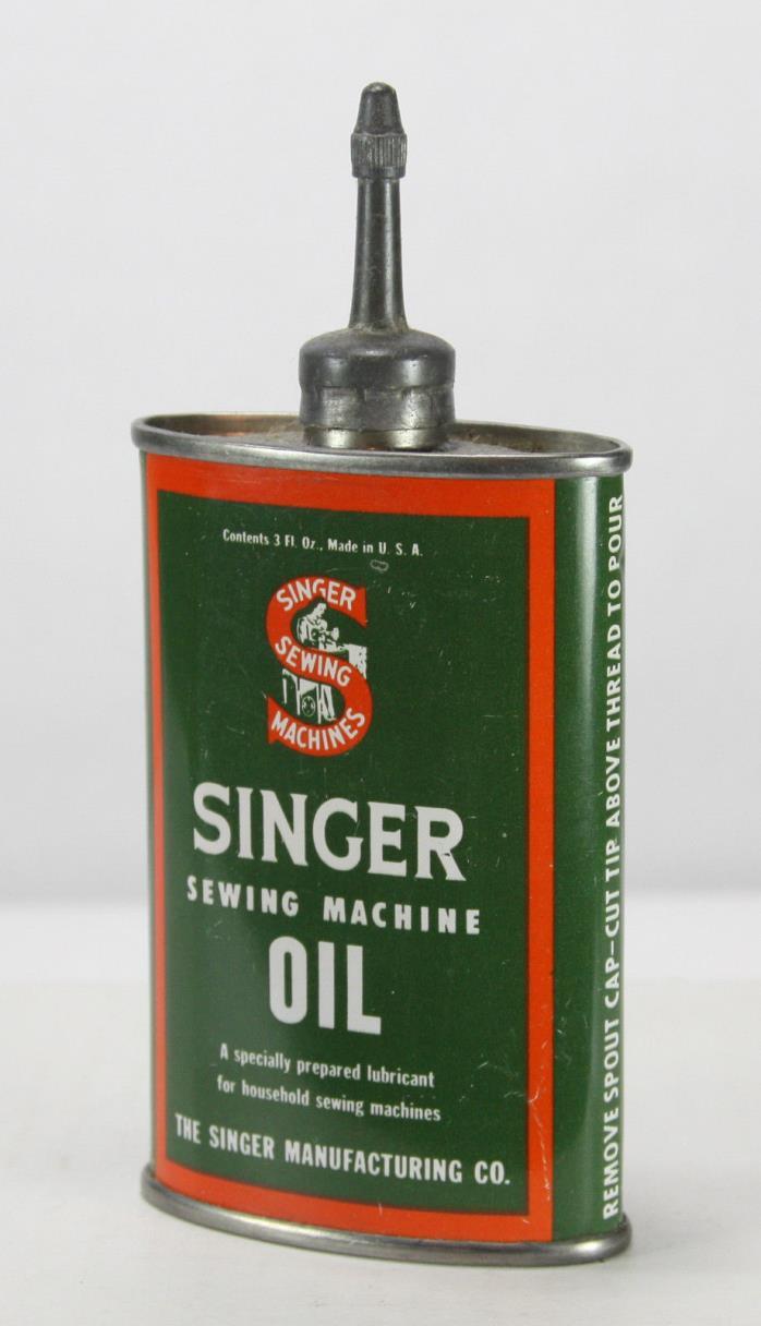 Vintage Singer Sewing Machine Oil Can 3 oz., Lead Spout and Cap