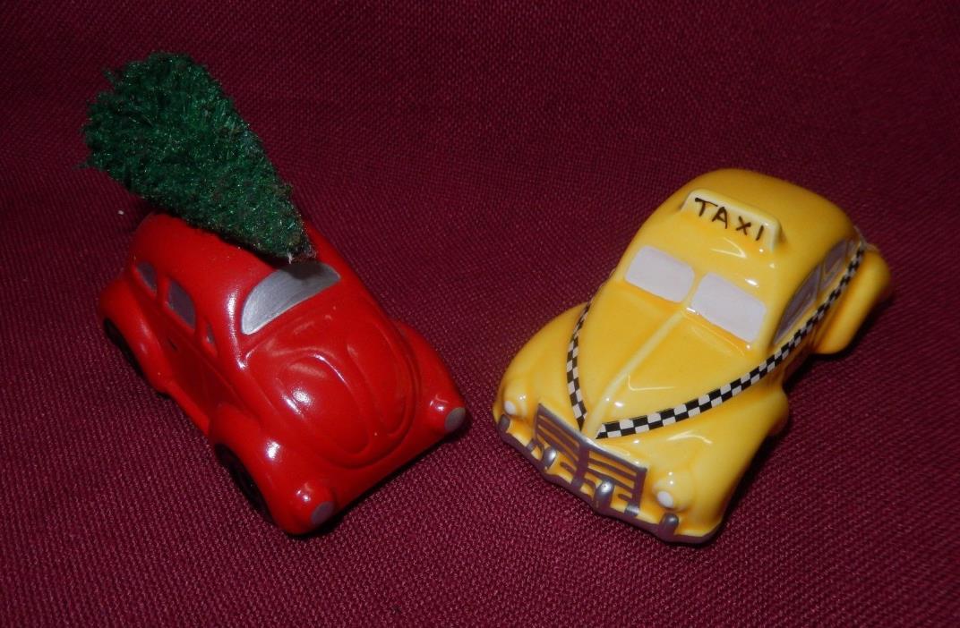 Dept 56 Red VW Bug Car w Xmas Tree & Yellow Taxi Snow Village