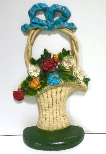 John Wright Chippy Cast Iron Flower Basket Doorstop Cottage Chic Shabby DONSCO W